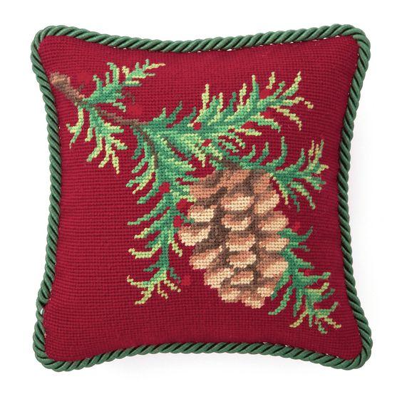 Balsam Needlepoint Throw Pillow