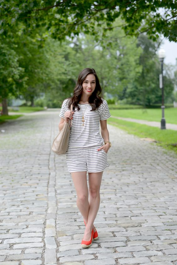 Happy Fourth! + Striped Romper - Wellesley & King | a striped romper, red espadrilles and classic ray-ban aviator sunglasses are great for fourth of July and memorial day style. Click for outfit details.: