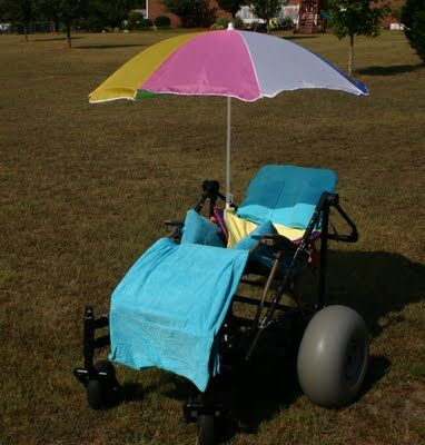 Detailed tutorial on how to build a beach-friendly wheelchair, complete with a beach umbrella and brightly colored towel. This post has lots of pictures and the blogger has answered many questions about assembly and design. The only thing missing from this awesome DIY is the ocean breeze and sound of the waves crashing! [This pin description was written by Libbi Diane Flynn]