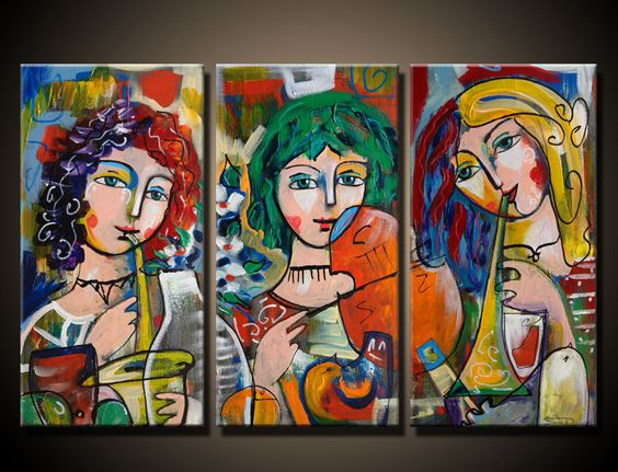 Girls and Music - Oil Painting