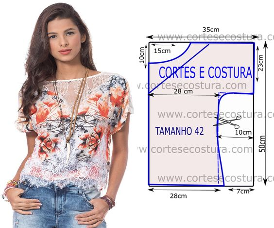 Modelo casual e simples são as principais características desta blusa com renda branca mas muito bonita. A roupa para ser bela não precisa de ser...:
