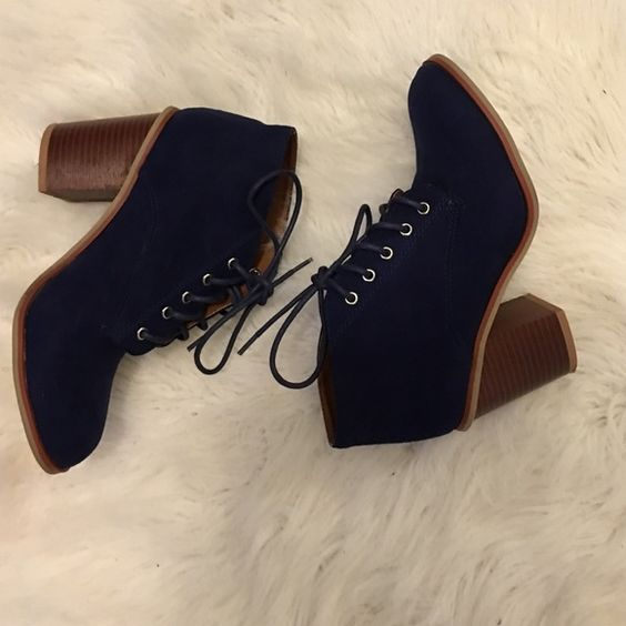 Royal Blue Suede Botties Royal Blue Suede tied up booties, with a chunkie heel. Worn twice in great condition. Shoes Ankle Boots & Booties