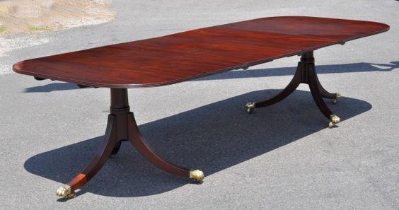 Period Sheraton Mahogany Two Pedestal Dining Table