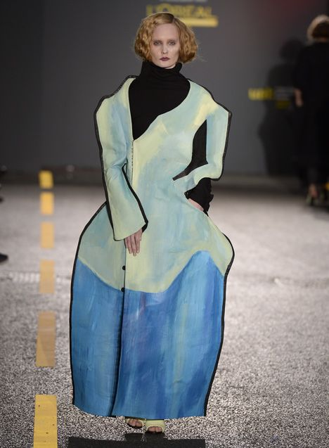 distorted silhouettes of painted dresses in Central Saint Martins Fiona O'Neill's #fashion collection via @Dezeen magazine