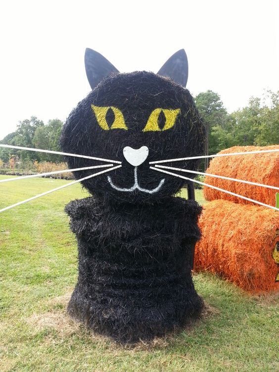Black Cat Hay Bale: