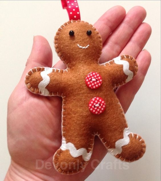 Hand Stitched Felt Gingerbread Man Christmas Decoration