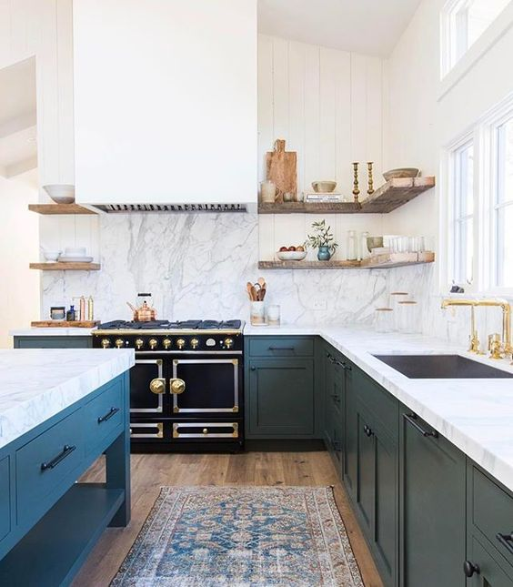 Kitchen design and decorating ideas with blue! All of the blue and white kitchens in this collection have elements of farmhouse or #modernfarmhouse style design, but you'll be surprised at the variety...all of them lovely! #kitchendesign