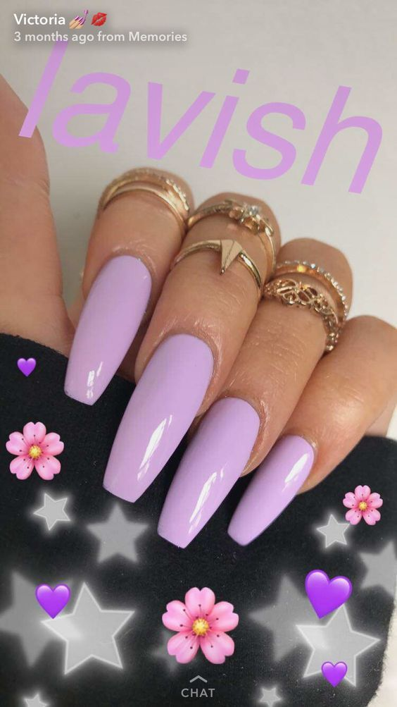 Purple Simple Coffin Acrylic Nail Art Design 2017 Winter Gel Polish Easy Purple Acrylic Nails Acrylic Nails Coffin Acrylic Nail Art