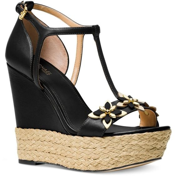 Michael Michael Kors Heidi Wedge Sandals ($165) ❤ liked on Polyvore featuring shoes, sandals, black, black wedge heel sandals, black shoes, black wedge shoes, espadrille wedge shoes and wedge espadrilles