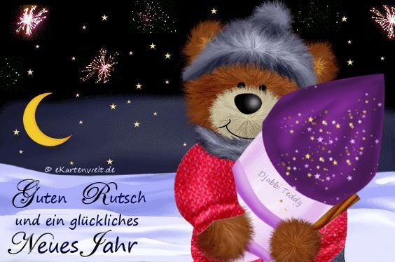 Guten Rutsch und ein glückliches Neues Jahr. Animiert, Silvester mit Djabbi Teddy, Feuerwerk, Jahreswechsel