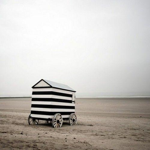 Remote.: Black And White, Beach Houses, Beach Huts, Black White, The Beach, Striped Caravan, White Stripes