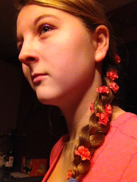 I put some fake flowers in my hair from ACMore. I've wanted to do this forever!!!