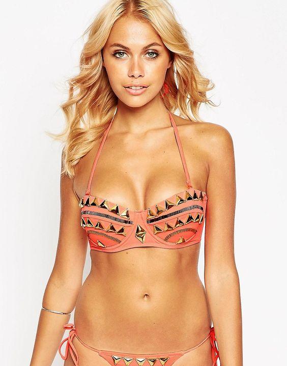 ASOS+Gold+Triangle+Embellished+Bandeau+Bikini+Top