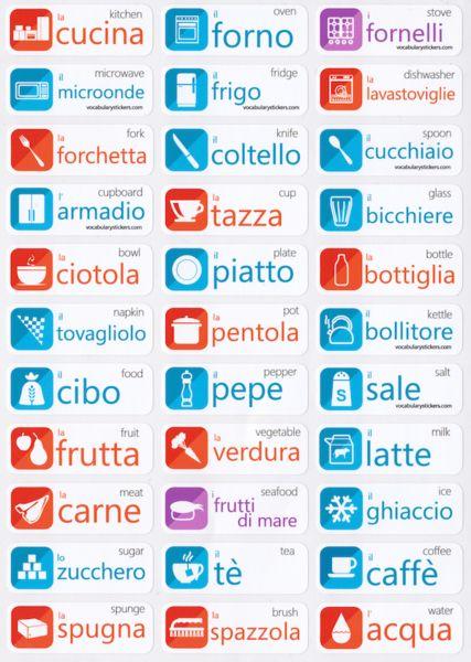 Italian Language Stickers http://vocabularystickers.com                                                                                                                                                     Más