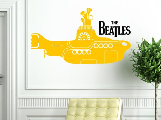 Wall decal the beatles yellow submarine themed wall decal for Beatles wall mural
