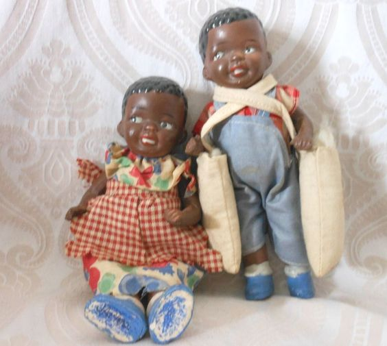 Black Children All Bisque Doll Pair from joan-lynetteantiquedolls on Ruby Lane