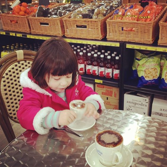 Hyde Park Grocers - Hyde Park, Adelaide | Eleni enjoying her Babychino in amongst the groceries