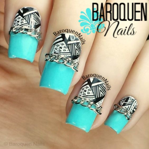 Blue Edge nail art by BaroquenNails