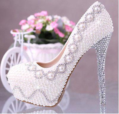 Brillantes perlas Hecho A Mano diamantes de imitación de brillantes Boda Vogue Mujer Tacones Altos