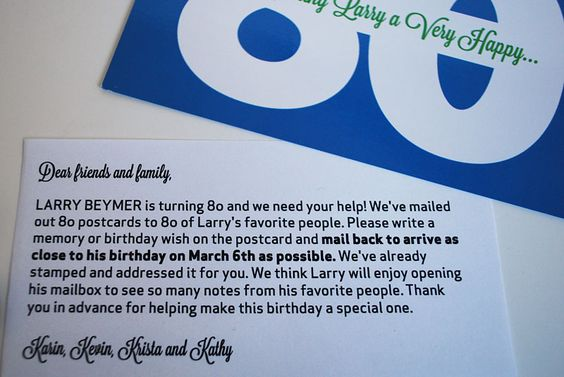 I know a special someone who is turning 80 next year, and saw this, thinking it's a sweet idea.