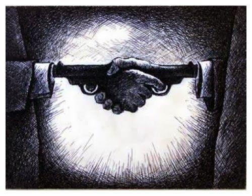 Ilustração de um aperto de mãos estilizado, em que se apontam armas um para o outro - do blog Sun Tzu e A Arte da Guerra (http://www.suntzulives.com/).