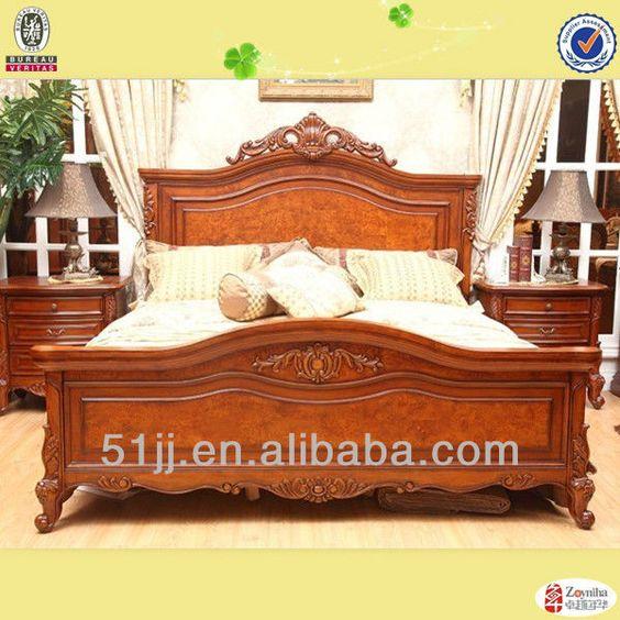 americana de madera antiguos diseños de muebles de lujo cama king