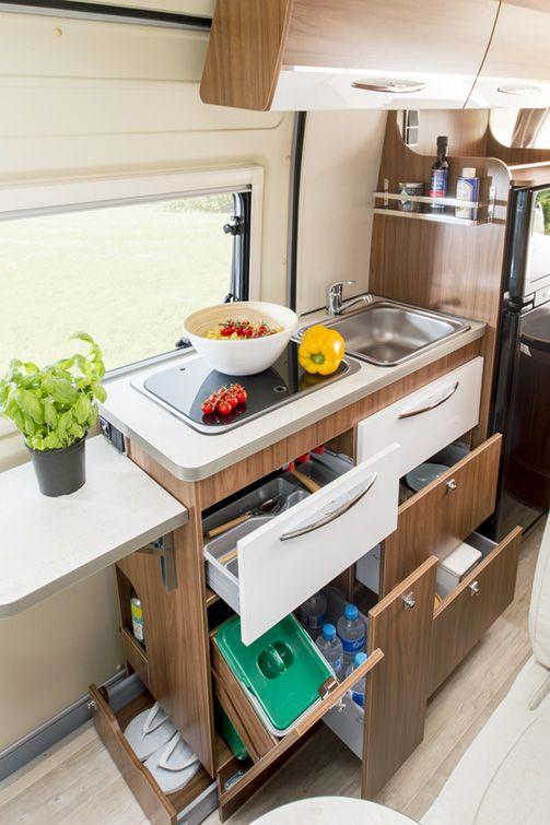 Fourgon Aménagé Lits Jumeaux VJ Pilote Foxy Van Cuisine - Meuble cuisine camping pour idees de deco de cuisine