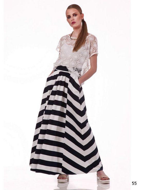Falda larga con rayas horizontales - Rayas horizontales ...