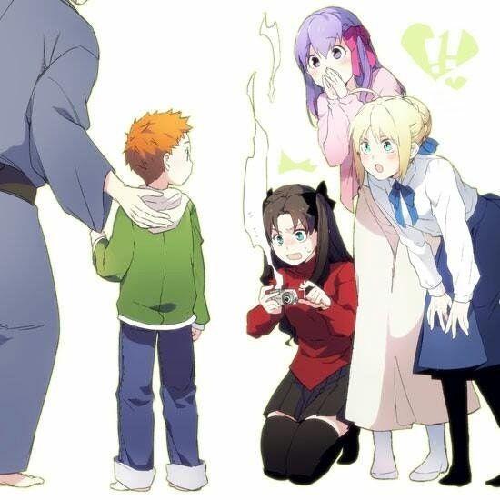 Rin Saber And Sakura Meet Little Shirou Fatestaynight Fate