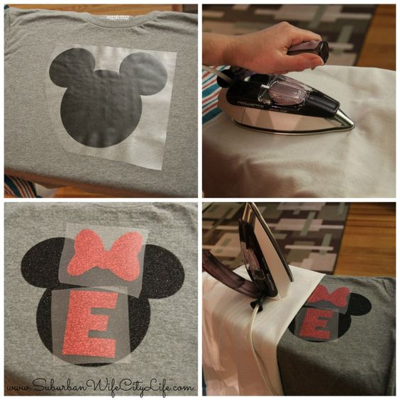 DIY Family Vacation shirts for Disneyland. Glitter and glossy iron on vinyl are used to make matching mickey mouse and minnie mouse tshirts for Disneyland. Cut out the shapes with scissors or an electronic crafy cutter machine like a Cricut or Silhouette.