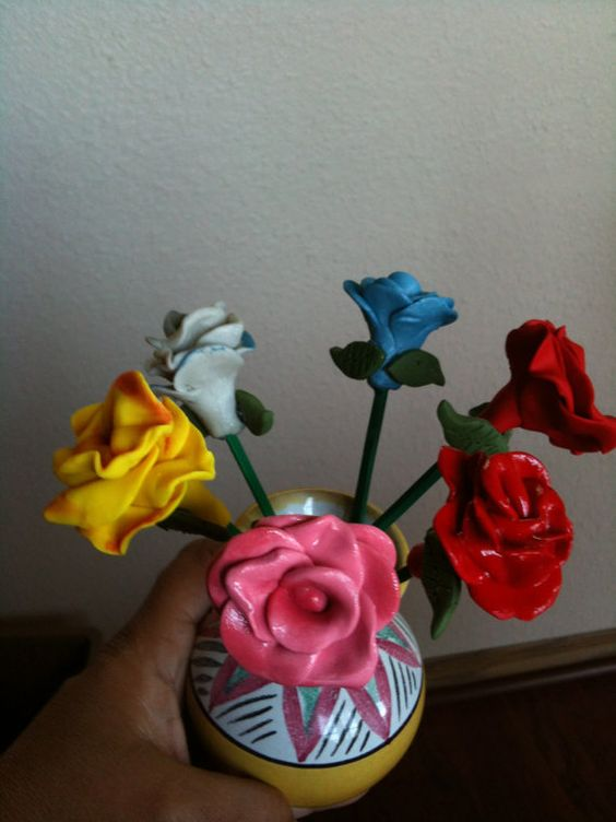 Polymer clay flowers by CRAFTYLADY962 on Etsy, $10.00