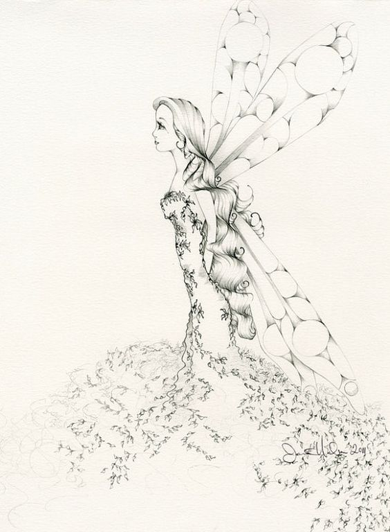 Fairy Pencil Drawing Original Drawing of a Fairy My ...