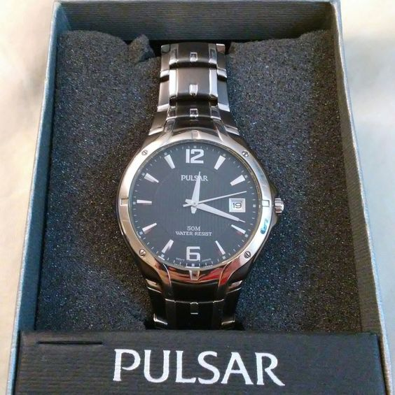 Mens Pulsar Watch VX42-X168 Black Silver Stainless Steel 50m Resistant Date Box #Pulsar #DressFormal