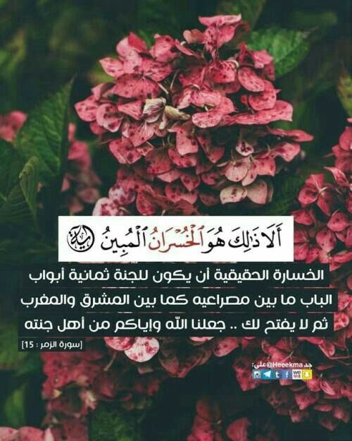 آية وحكمة في صورة ألا ذالك هو الخسران المبين Quran Book Quran Quotes Inspirational Quran Quotes Love