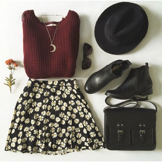Wine red long sleeve side zipper cable knit sweater, floral circle skirt, black messenger bag. Dislike the booties.