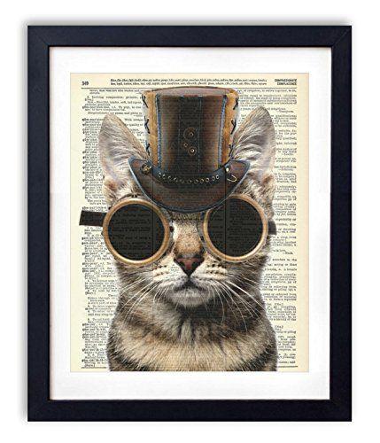 Dictionary Art Print - Steampunk Cat