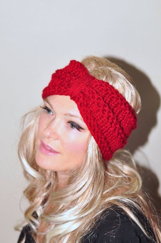 Knitted Head Wrap Pattern Free : Turban Headband Crochet Head wrap Knit ear warmer Earwarmer CHOOSE COLOR Cran...