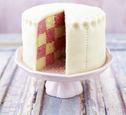 Peek-a-boo Battenberg cake