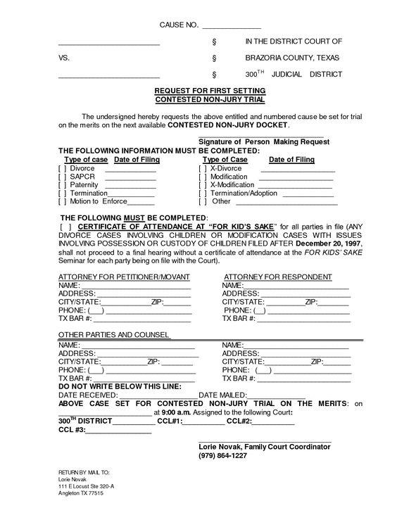 Printable Sample Divorce Documents Form – Divorce Template