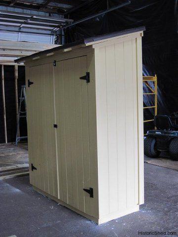 Narrow storage shed