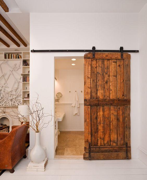 Superbe porte coulissante design en bois brut avec un seul ventail: