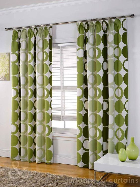 Green Curtains chocolate and green curtains : Halo Panama Green Pencil Pleat Curtain | Bay window curtains, Bays ...