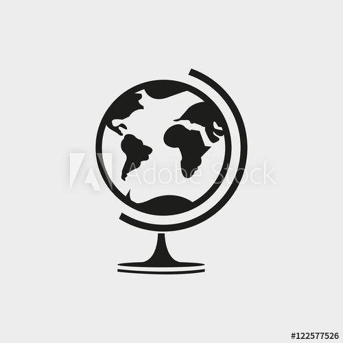 Earth Globe Icon Stock Vector Illustration Flat Design In 2021 Globe Icon Earth Globe Globe Vector