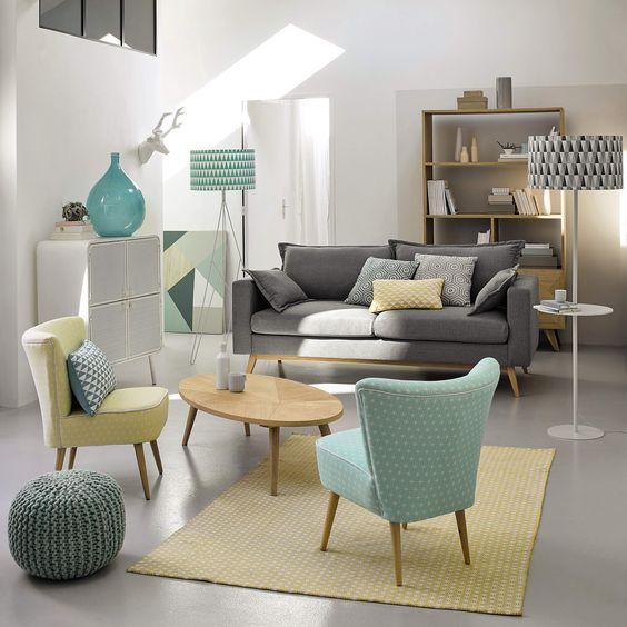 Sitzpuff SAMMY in Flechtoptik aus Wolle, grün | Maisons du Monde