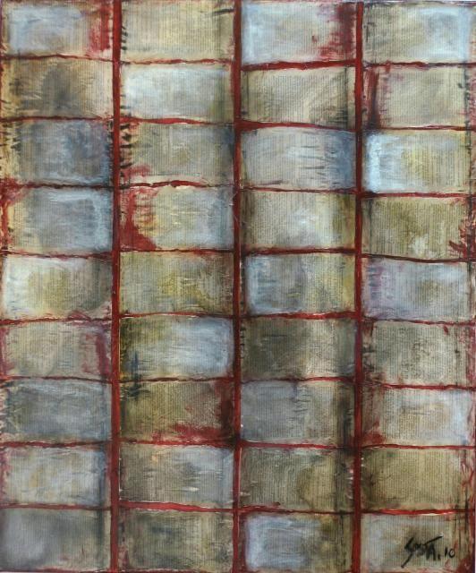 tableau abstrait enti rement recouvert de feuilles de livre travaill es la peinture et au. Black Bedroom Furniture Sets. Home Design Ideas