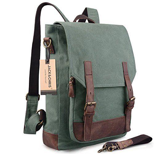 Jack&Chris®Canvas Leather Backpack Rucksack Laptop Bag 2…