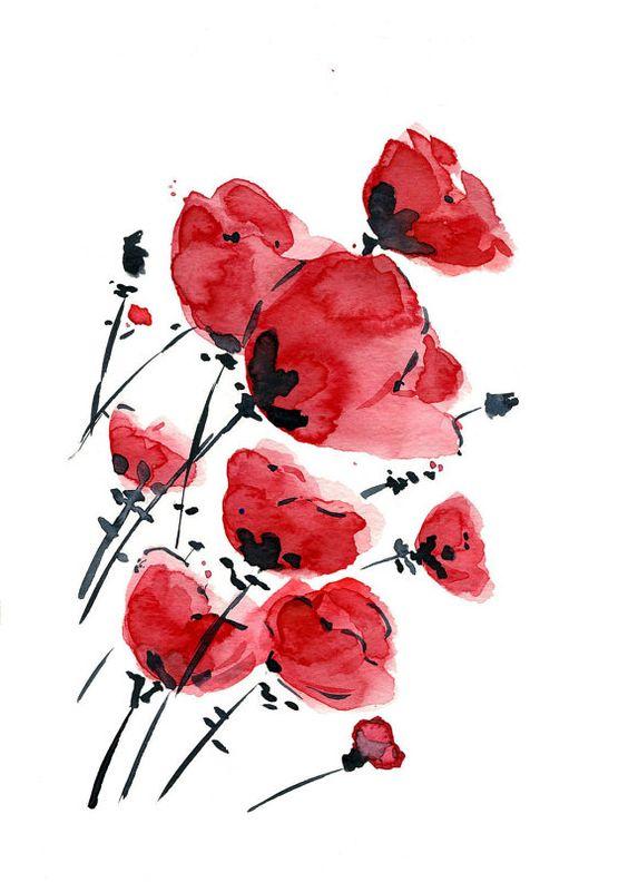 Champ de coquelicots sur une journée venteuse, d'impression d'art de la peinture originale d'aquarelle, valentine, anniversaire, fête des mères, impression numérique, Rouge, Noir