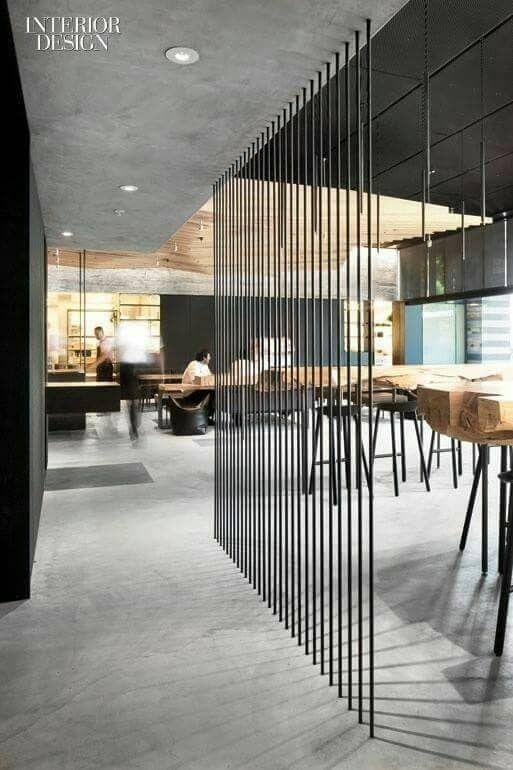 Divisoria De Aco Interiores Comerciais Arquitetura Corporativa Design De Interiores Casa
