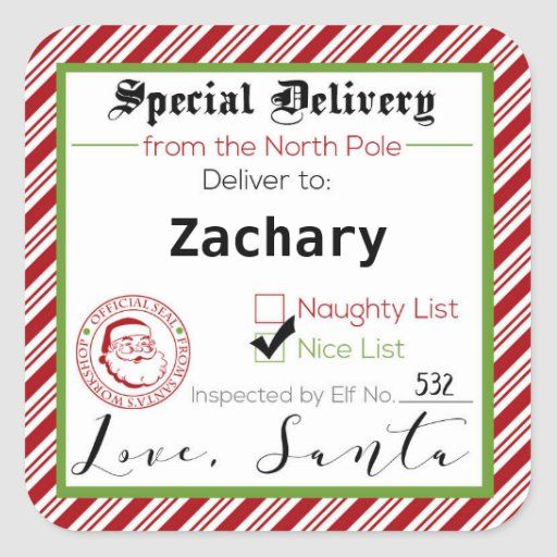 Special Delivery From Santa Gift Tag Stickers Zazzle Com In 2020 Santa Gift Tags Gift Tags Santa Gifts
