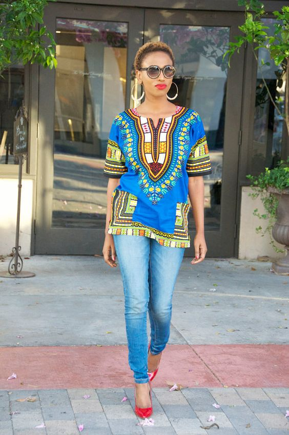 Dashiki Shirt African Print Shirt by Bongolicious ~Latest African Fashion, African Prints, African fashion styles, African clothing, Nigerian style, Ghanaian fashion, African women dresses, African Bags, African shoes, Nigerian fashion, Ankara, Kitenge, Aso okè, Kenté, brocade. ~DKK: